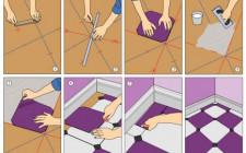 Укладываем на пол ковровую плитку