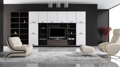 серый ковер в гостинной в стиле хайтек