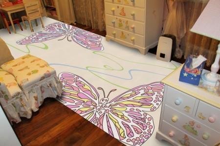 ковер в детской с бабочками