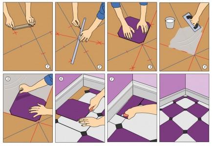 Укладываем на пол ковровую плитку пошаговая схема