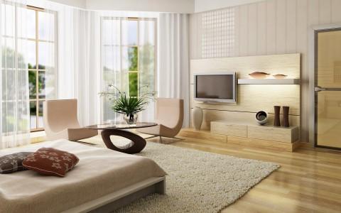 спальня в стиле ХайТек с ковром
