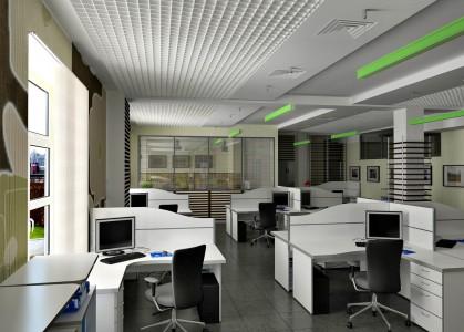 современный офис в светло сером цвете