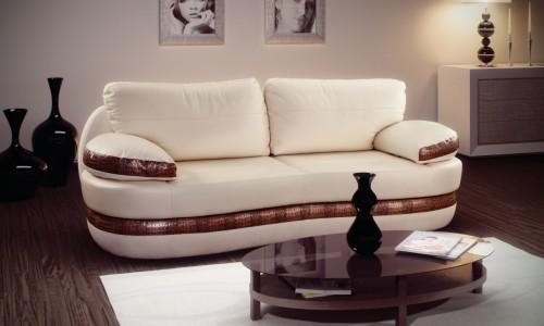 белый диван кровать с коричневыми вставками