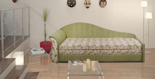 зеленый диван кровать