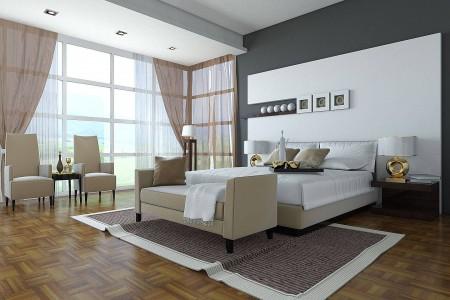 спальня с ламинатом