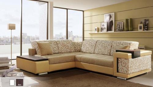 мягкий угловой диван в гостинной