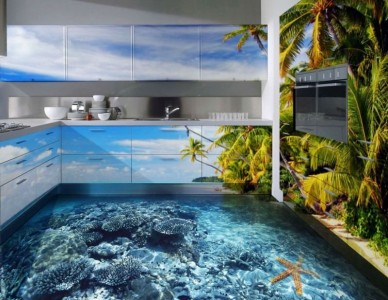3Д пол на кухне под берег океана