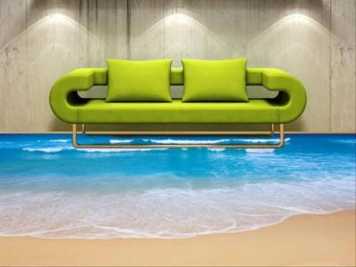 3D пол в гостинной под пляж