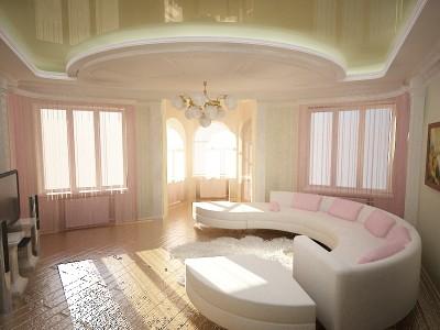 светло розовая гостинная