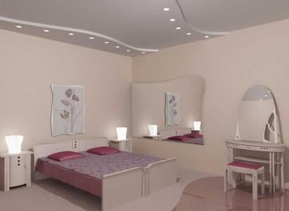 светло розовая спальня с белыми натяжными потолками