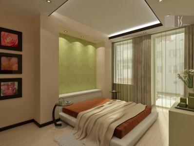 спальня с современными натяжными потолками